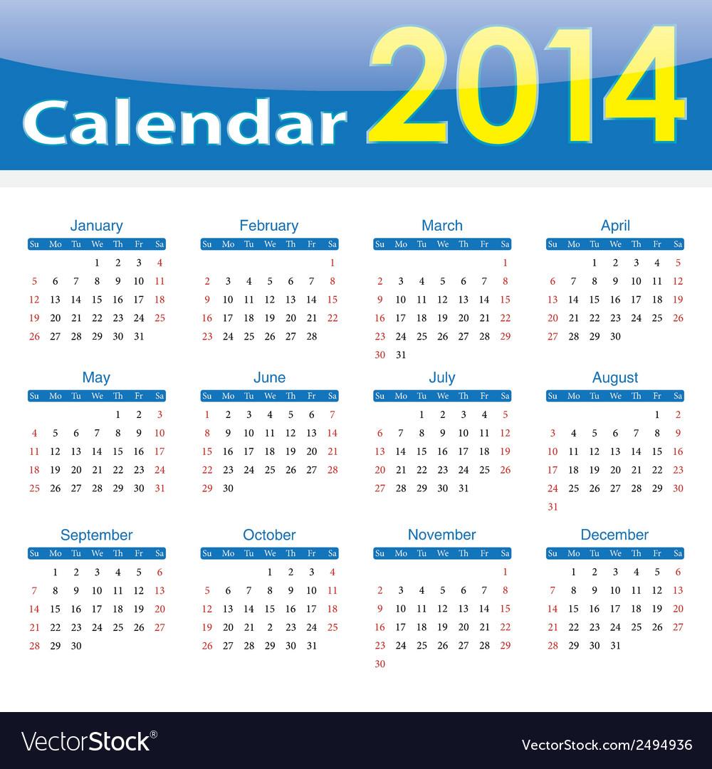 Calendar 2014 popular template on isolated backgro