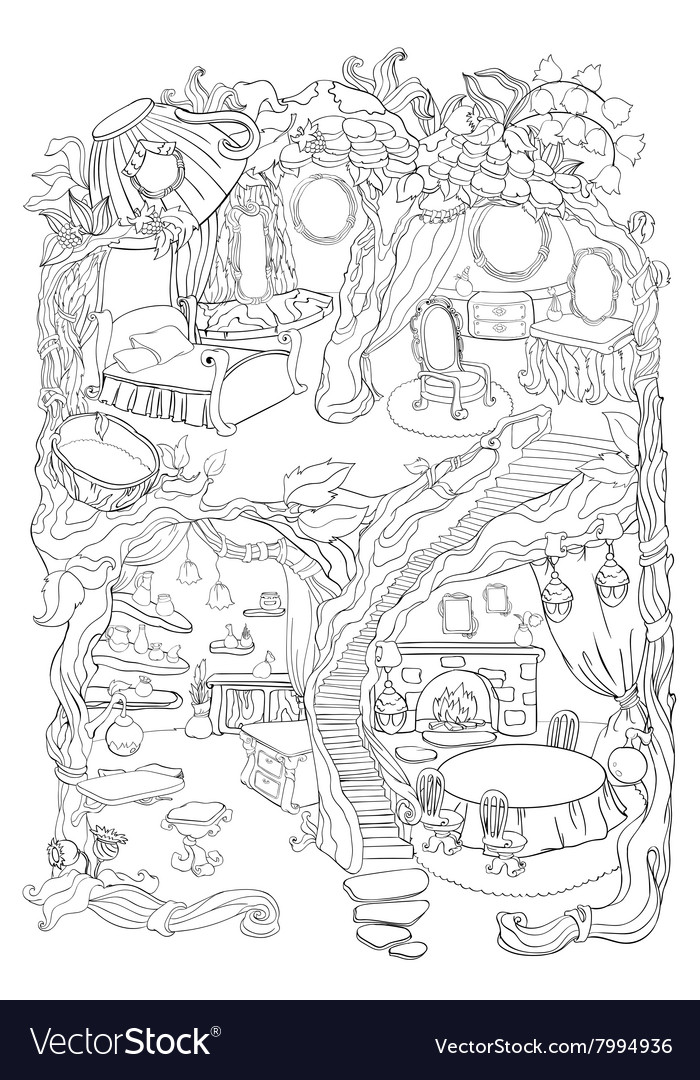 Colouring Page Of Fairy House Royalty Free Vector Image