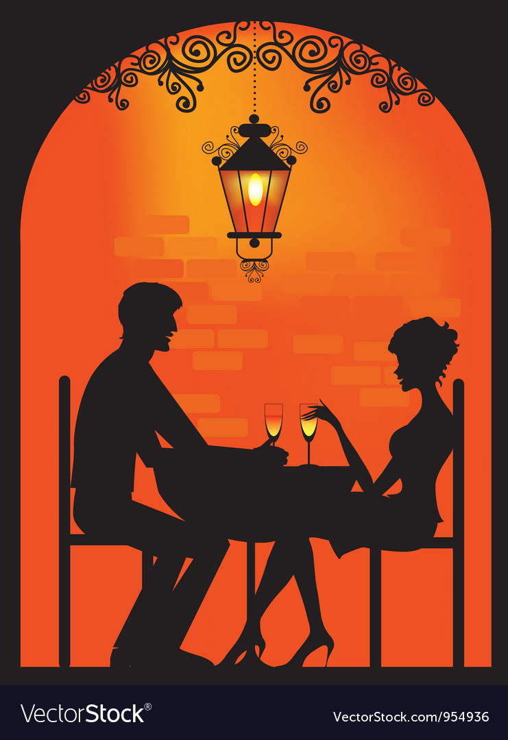 Couple dinning Silhouette