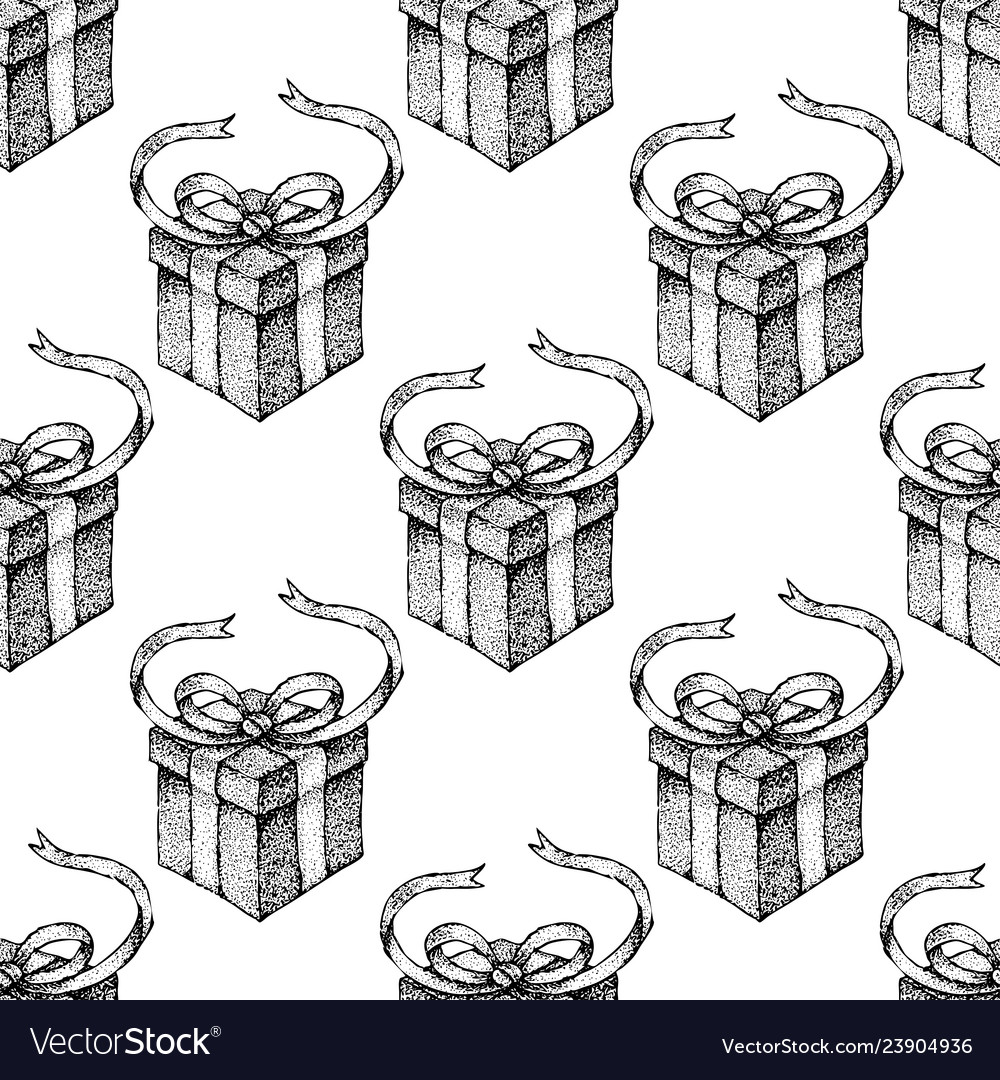 Dotwork gift box seamless pattern vector