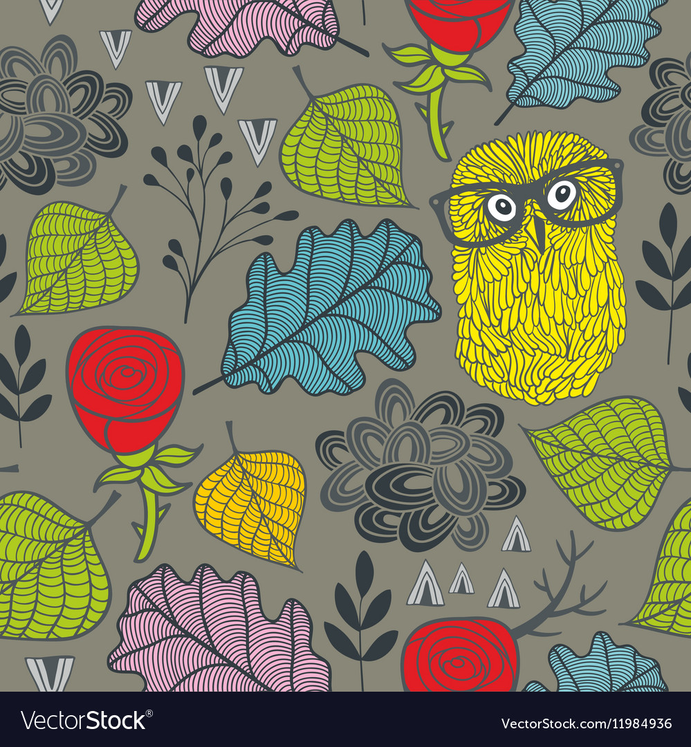 Endless pattern with autumn plants red roses and