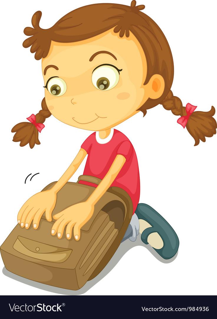 Girl Packing School Bag vector image