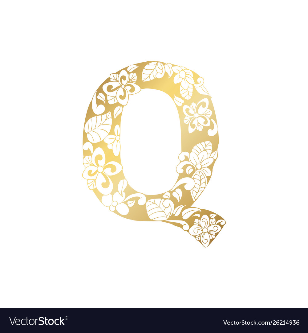 Golden ornamental alphabet letter q font