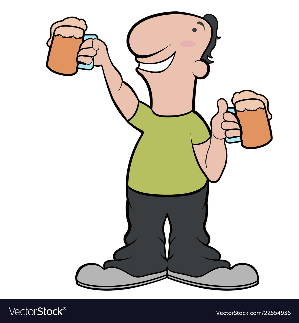 Happy Cartoon Character Drinking Beer Royalty Free Vector