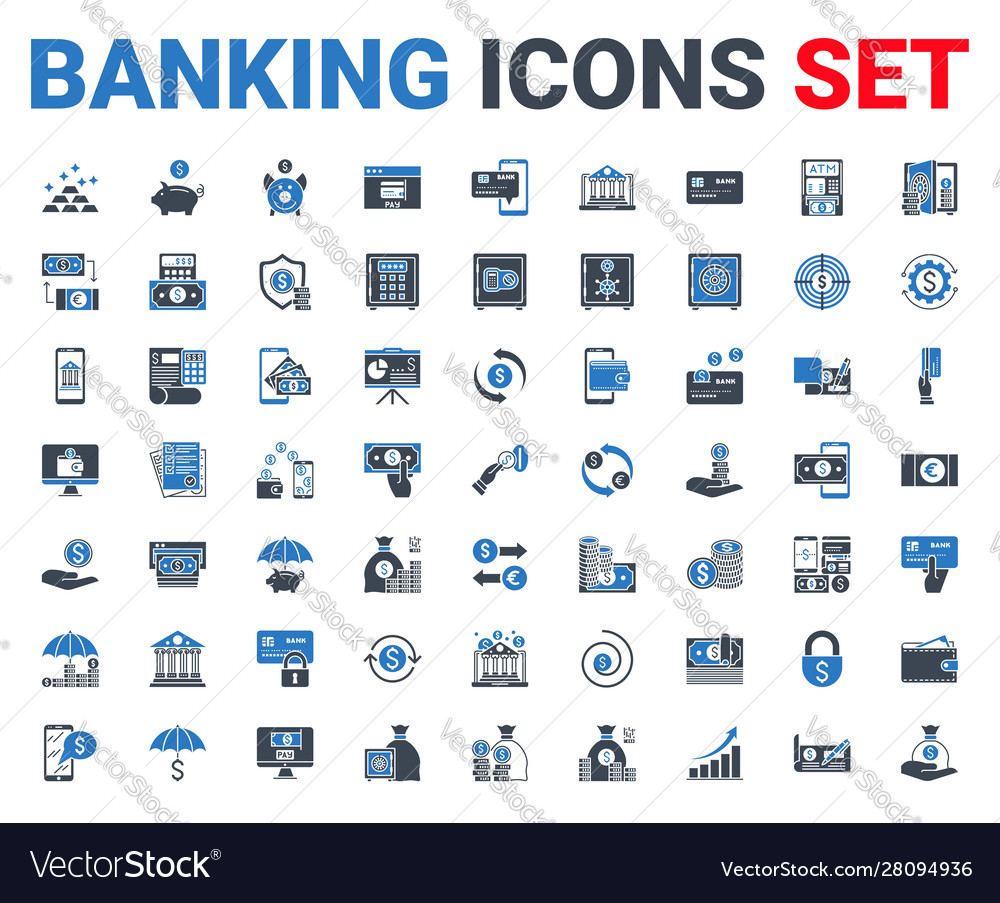 Set banking icons glyph for mobile and web apps