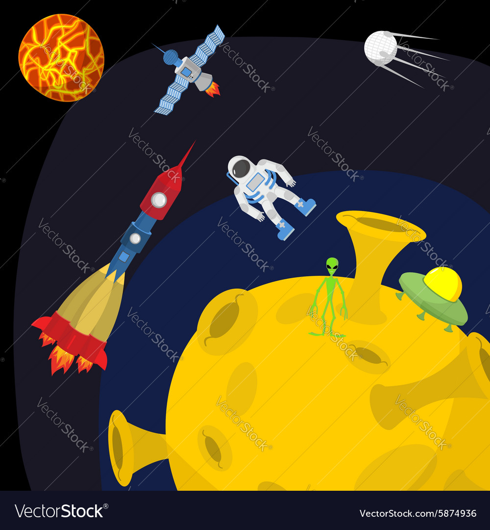 Space landscape Moon and alien UFO and rocket vector image