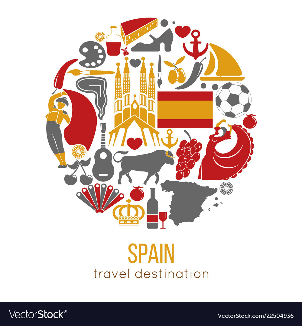 Spain travel destination promotional poster with