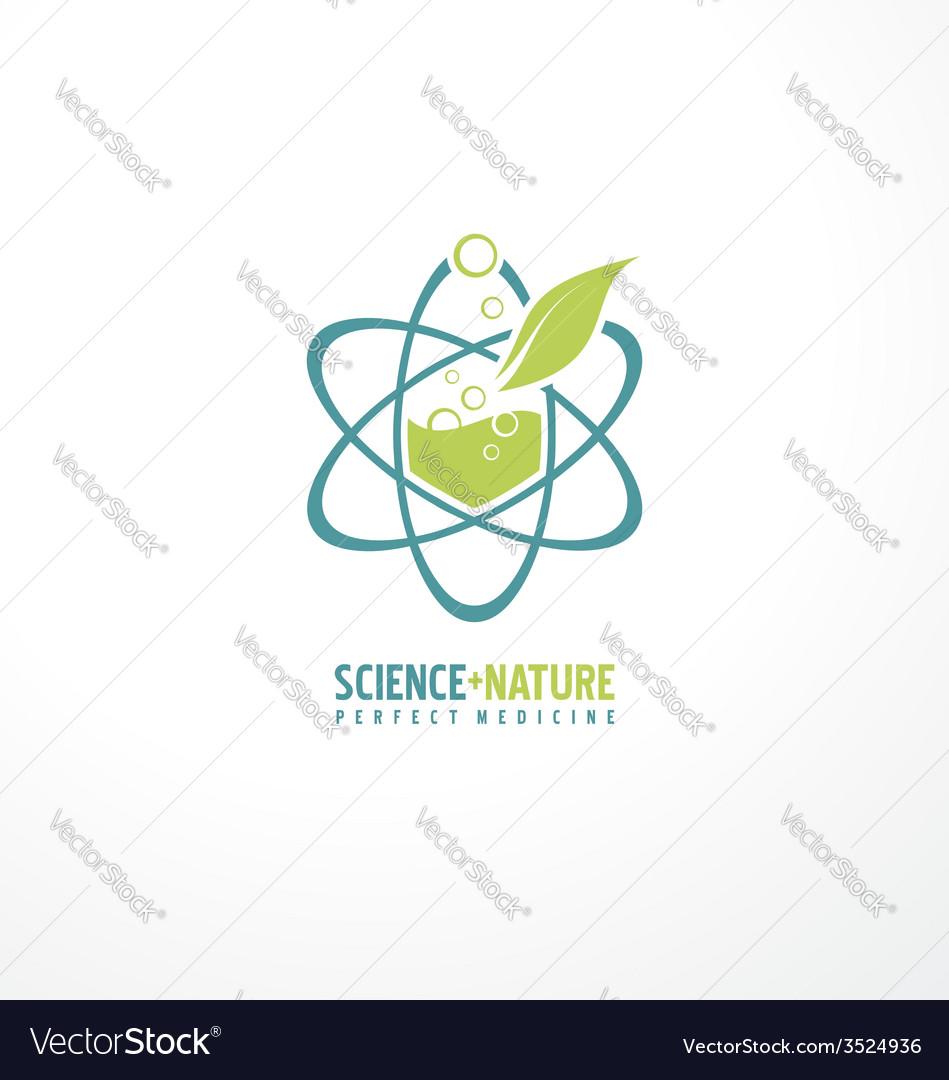 Unique symbol design with leaf and atom vector image