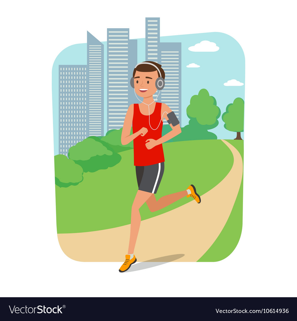 Urban sports Young man jogging for fitness in the vector image