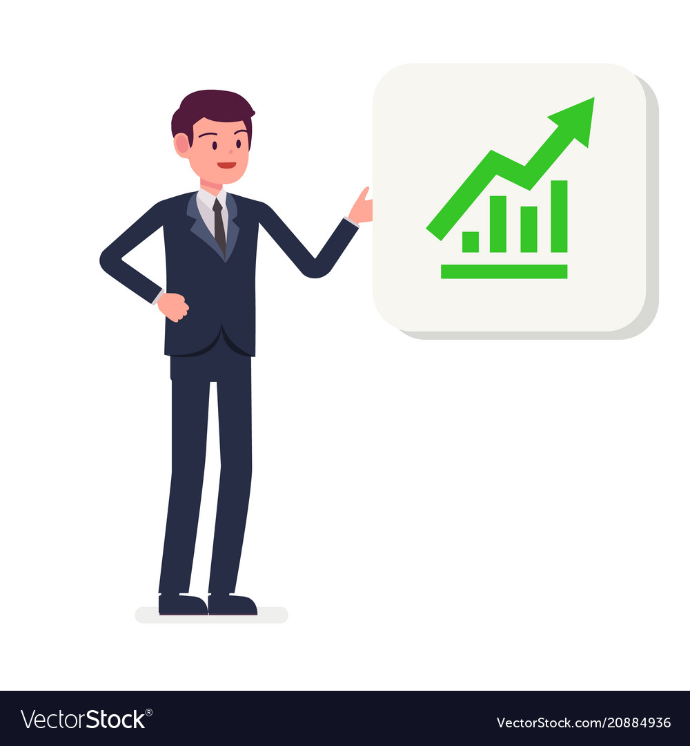 Young businessman presenting growing graph icon