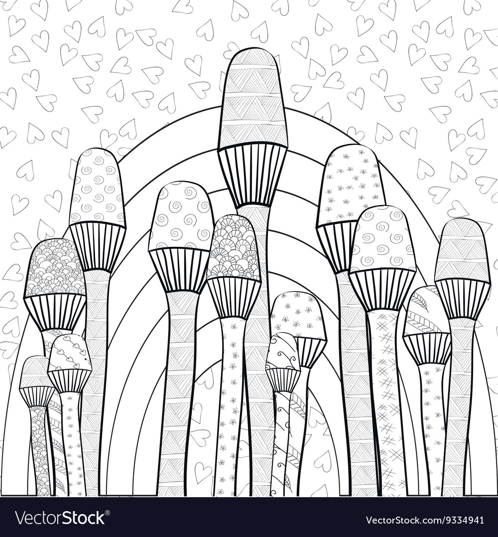 Adult Coloring Book Page Magic Mushrooms Garden
