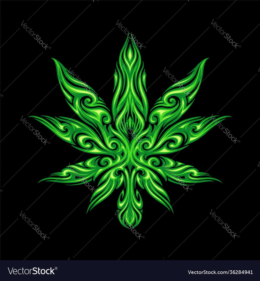 Cannabis leaf tribal tattoo