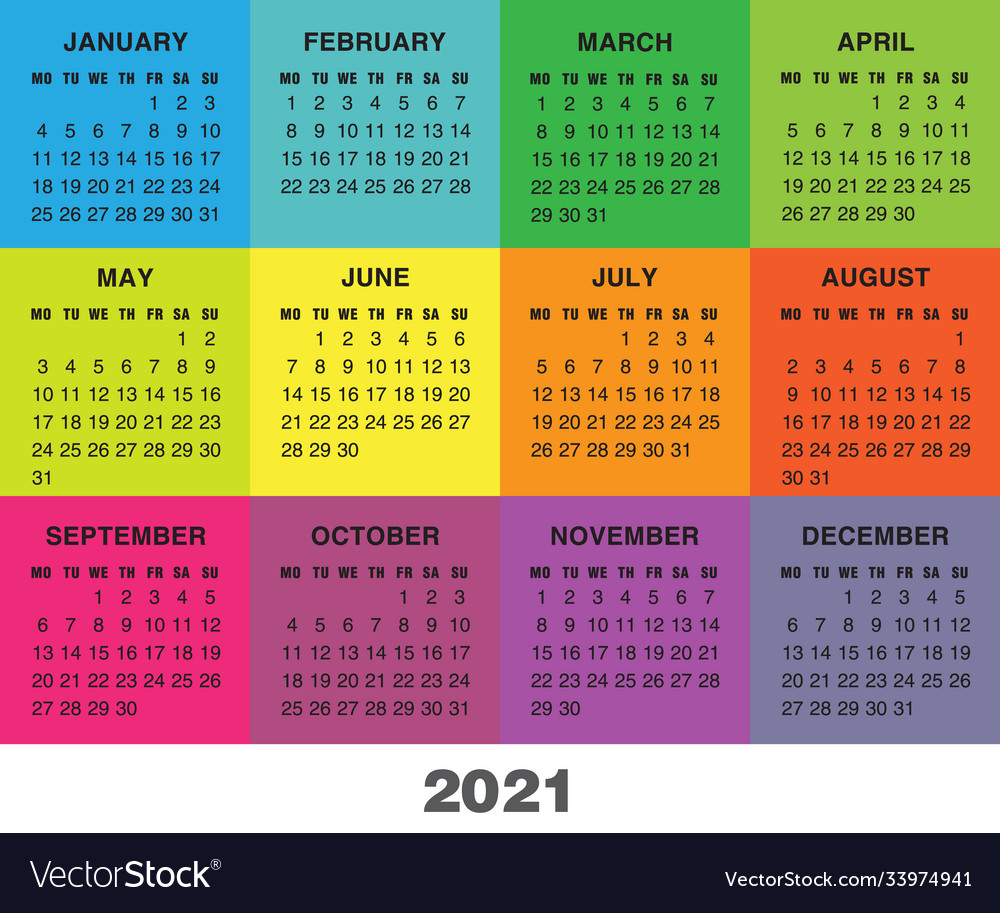 Colorful calendar for 2021 year week starts