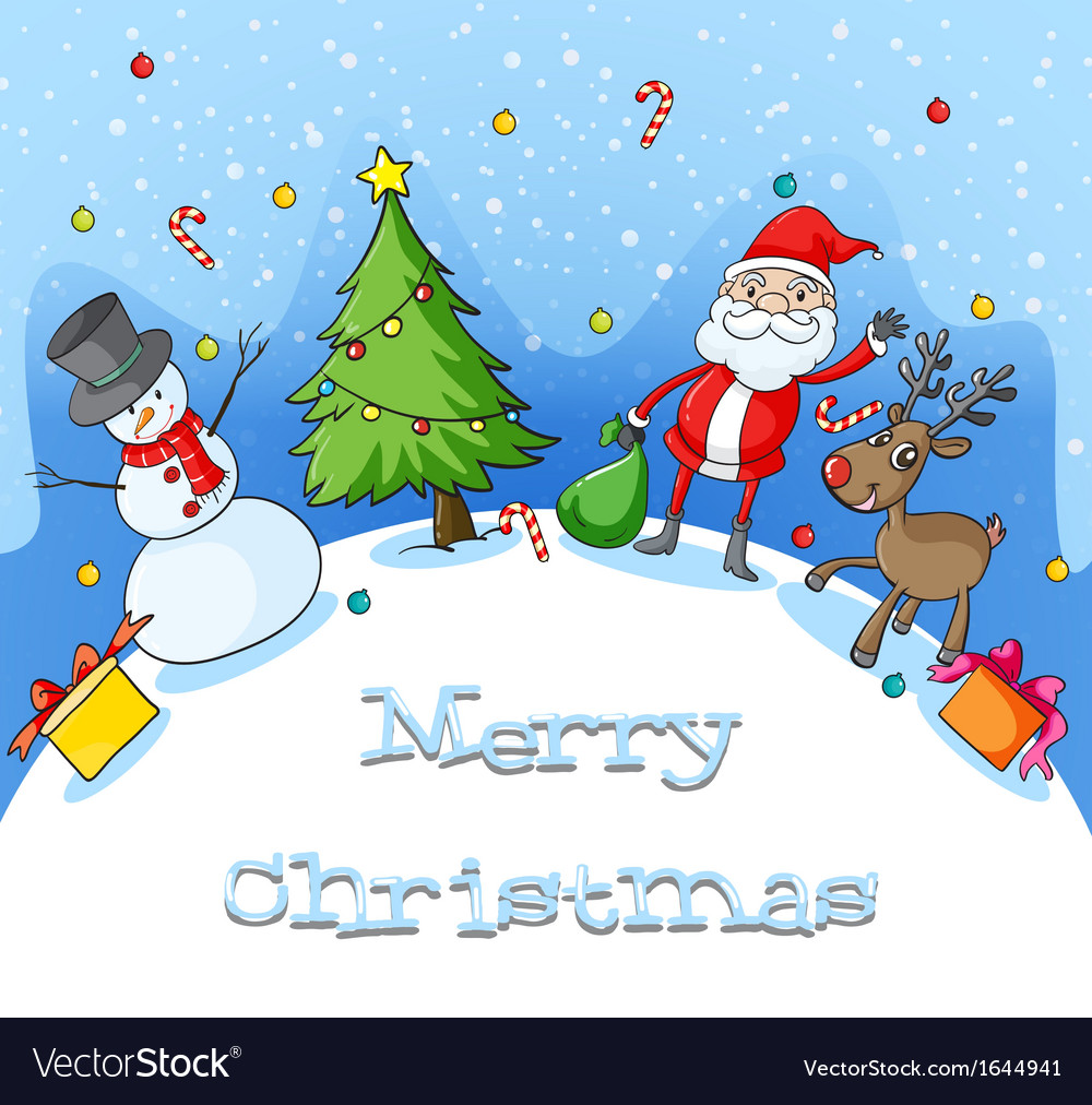 different christmas symbols at the hilltop covered vector image - Hilltop Christmas