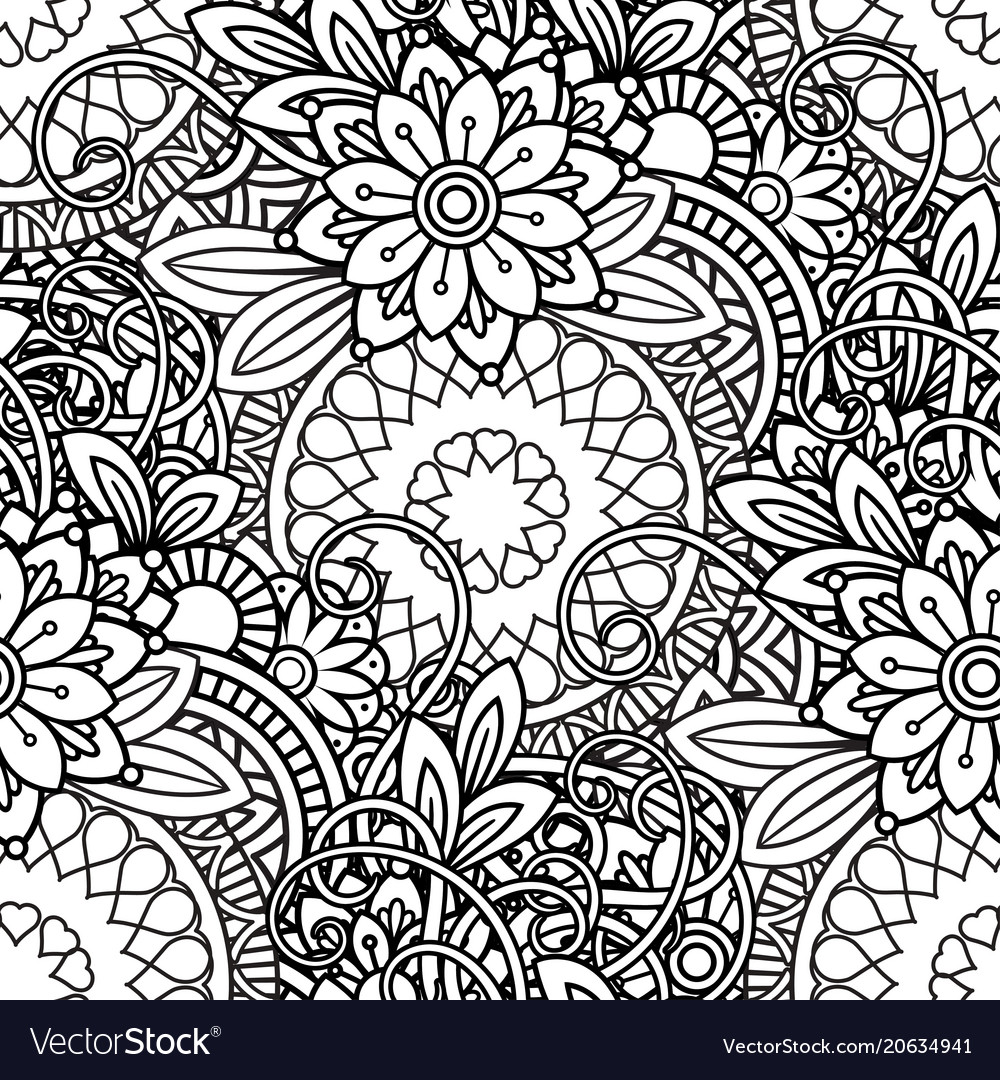 Doodles floral seamless pattern