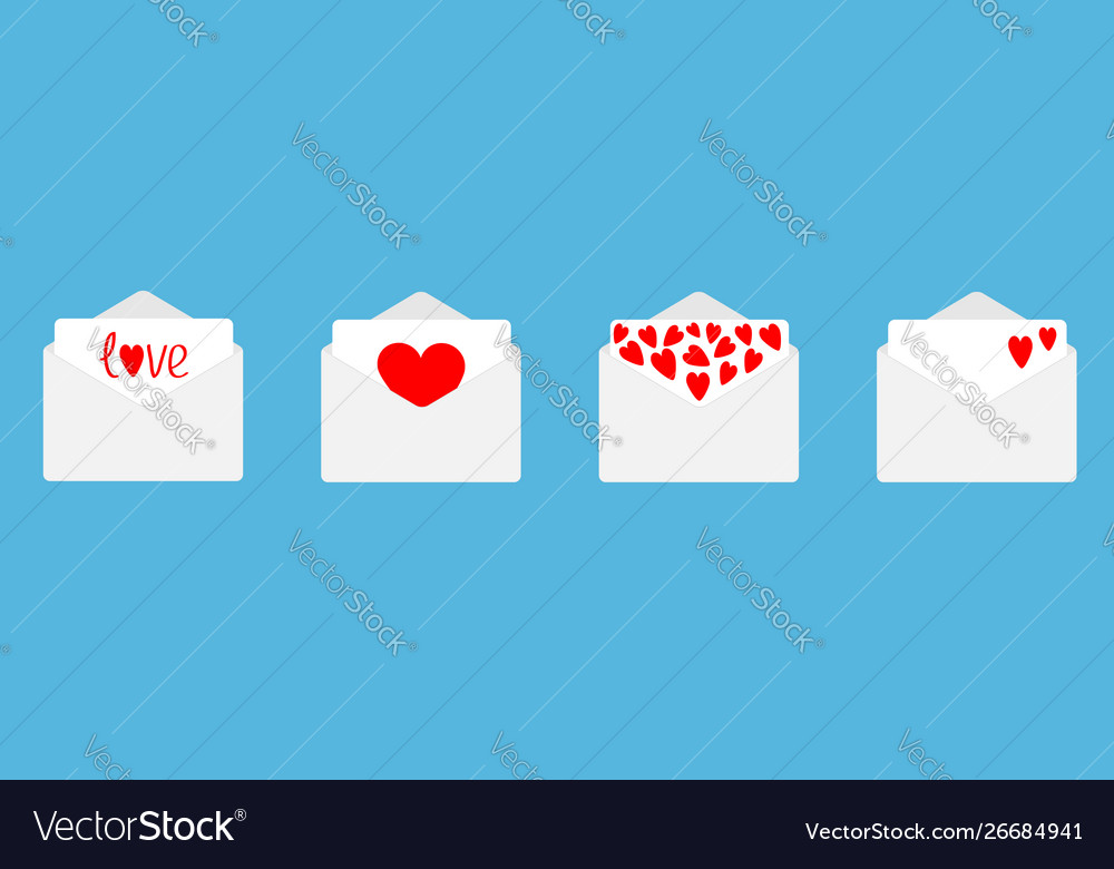 Four envelope with red hearts set line happy