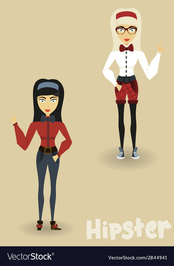 Hipster character business woman with hipster