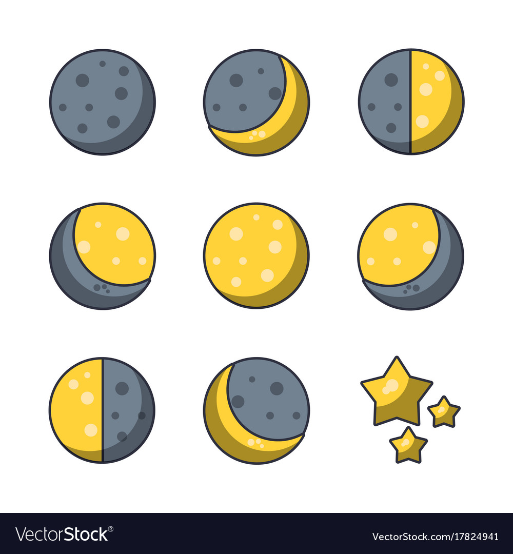 Moons icons set vector image