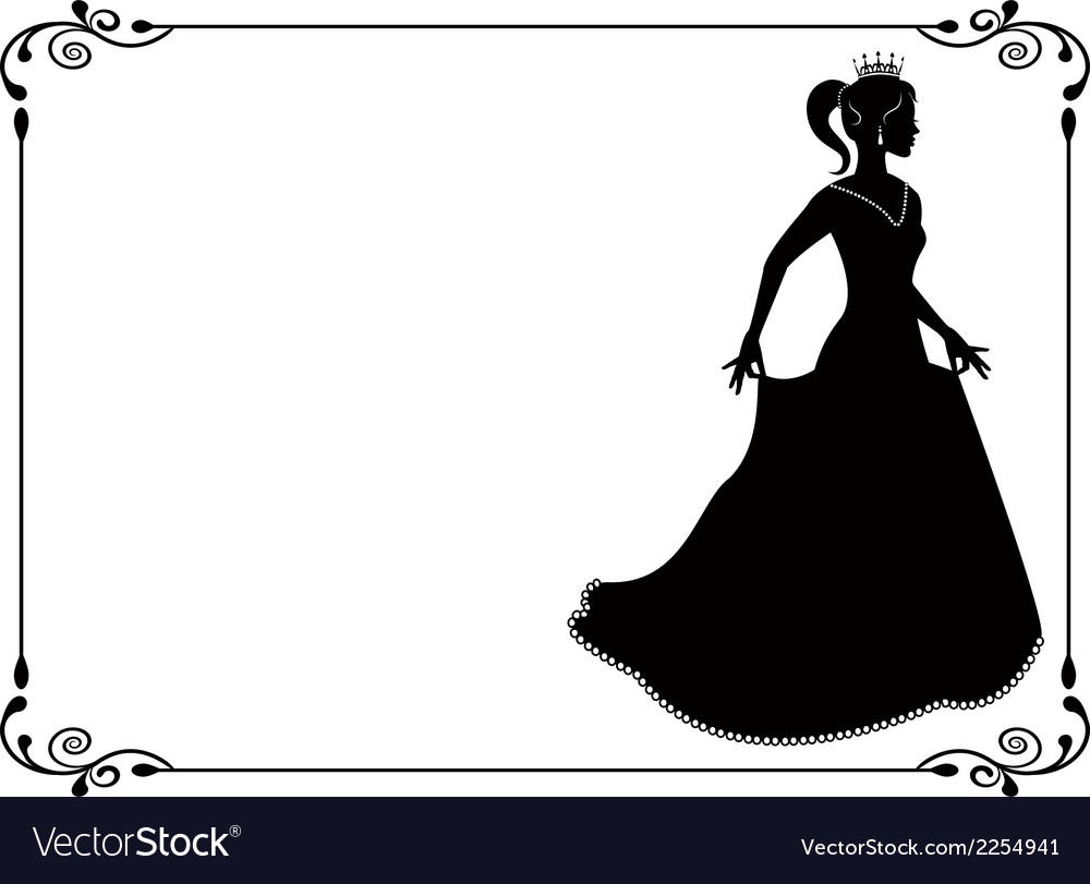 Princess silhouette in long dress and retro frame