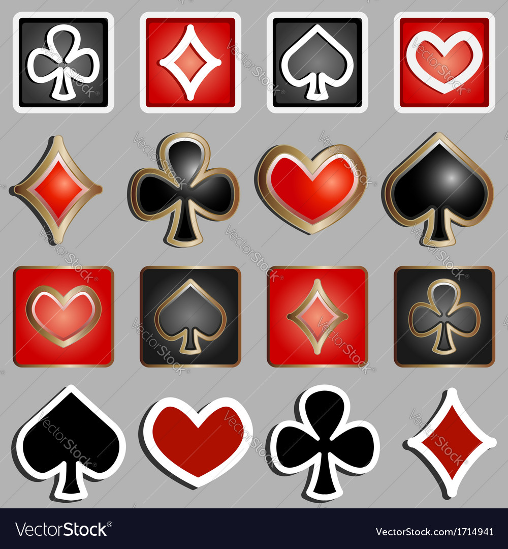 Set of icons with card suits vector image