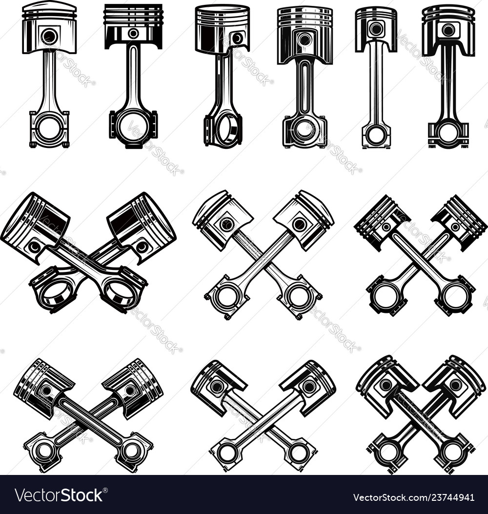 Set of piston icons and design elements for logo