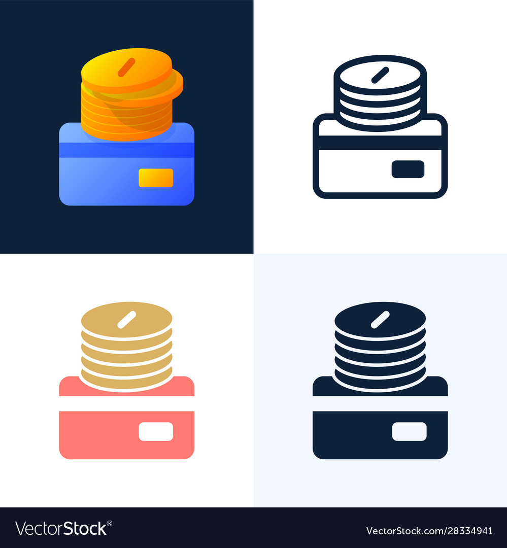 Stack coins with a credit card stock icon set
