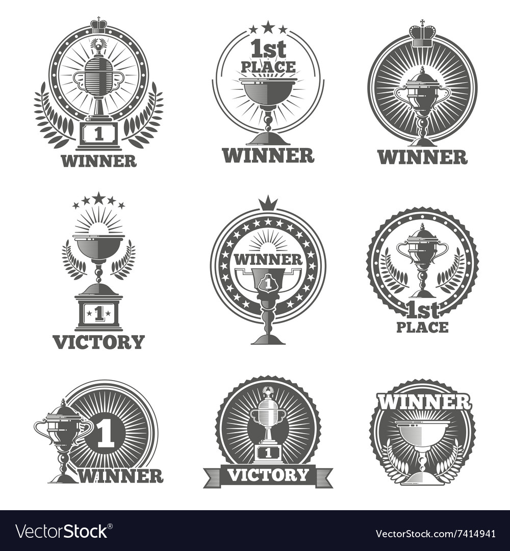 Victory trophies and awards logos badges vector image