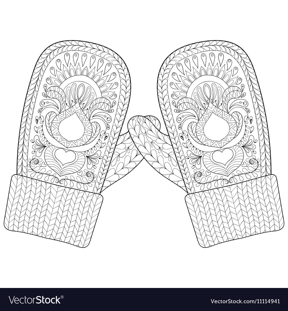 Winter warm knitted mittens in zentangle style vector image