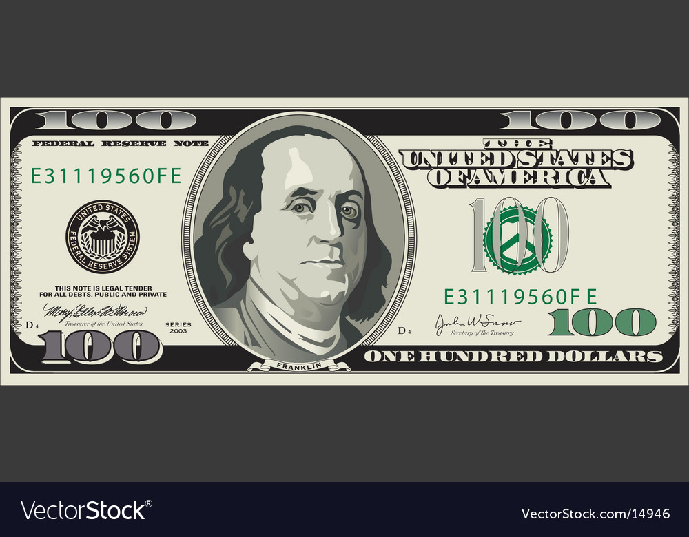 100 dollar bill vector image