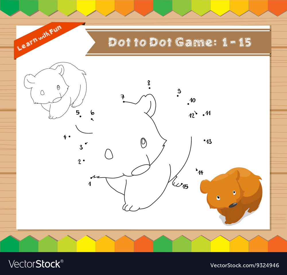 Cartoon Bear Dot to dot educational game for kids vector image