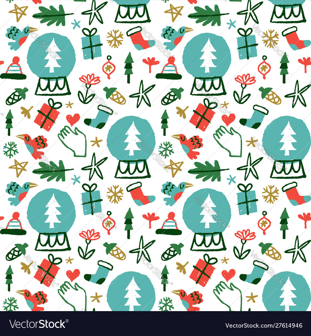 Christmas holiday nature doodles seamless pattern