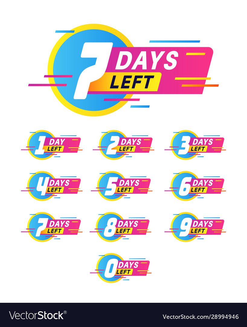 Days to go badges product promotion big