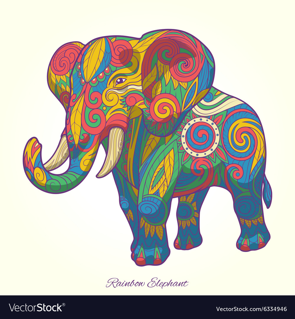 - Elephant Rainbow Colorful Ornament Ethnic Vector Image