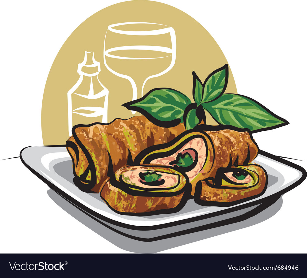 7562ff1e4b32 Fried chicken spring roll Royalty Free Vector Image