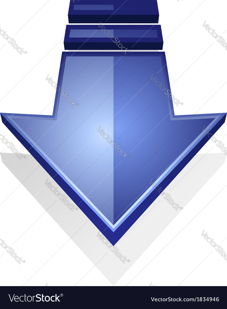 Glossy blue icon an arrow pointing down
