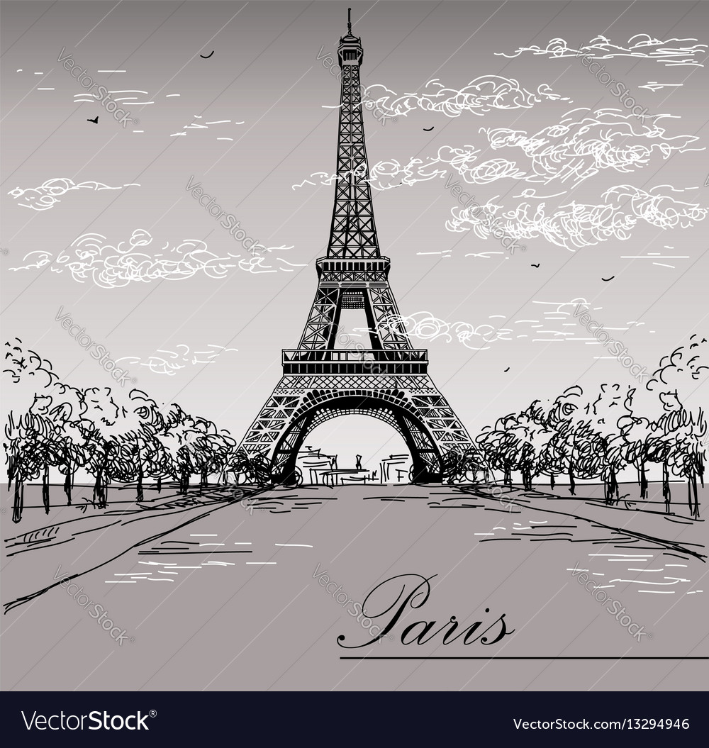 Landscape with eiffel tower in black and white