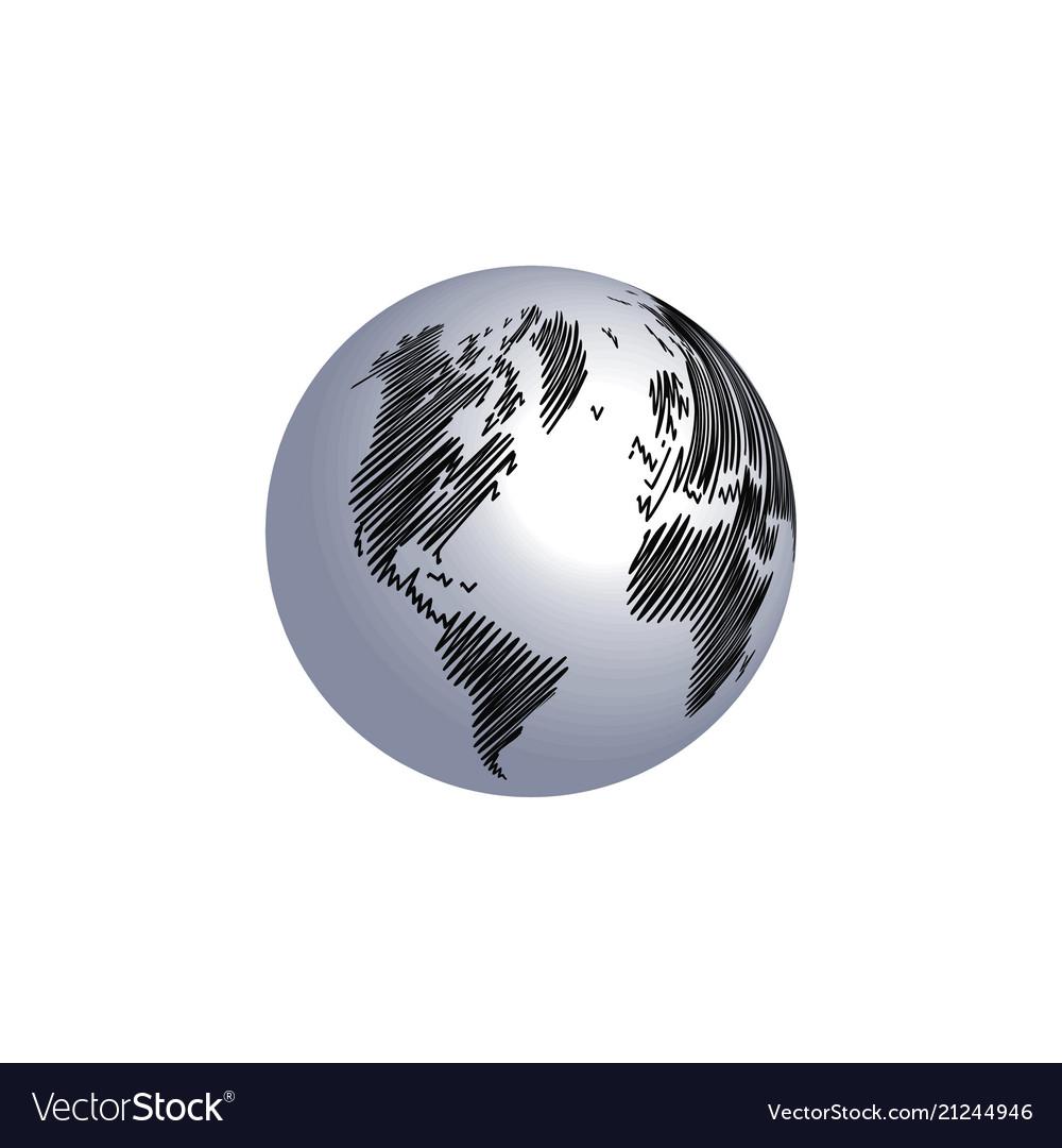 World map globe scribble