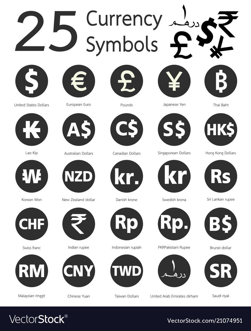 25 Currency Symbols Royalty Free Vector Image Vectorstock