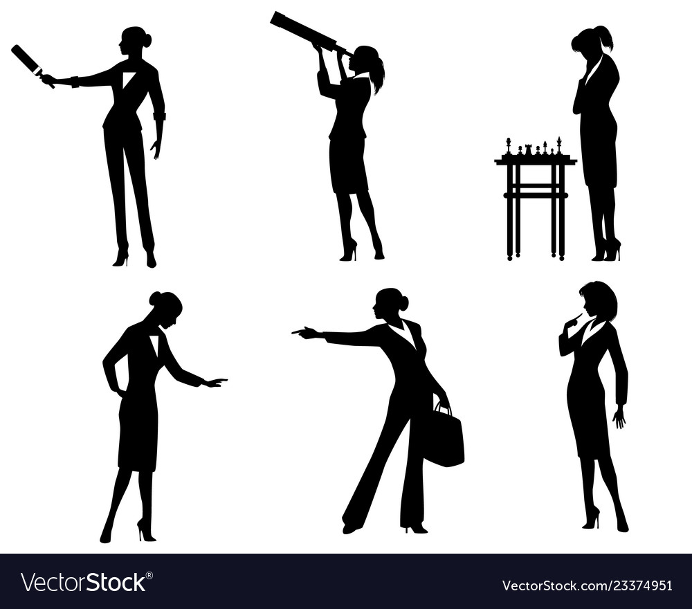 Business lady silhouettes in action