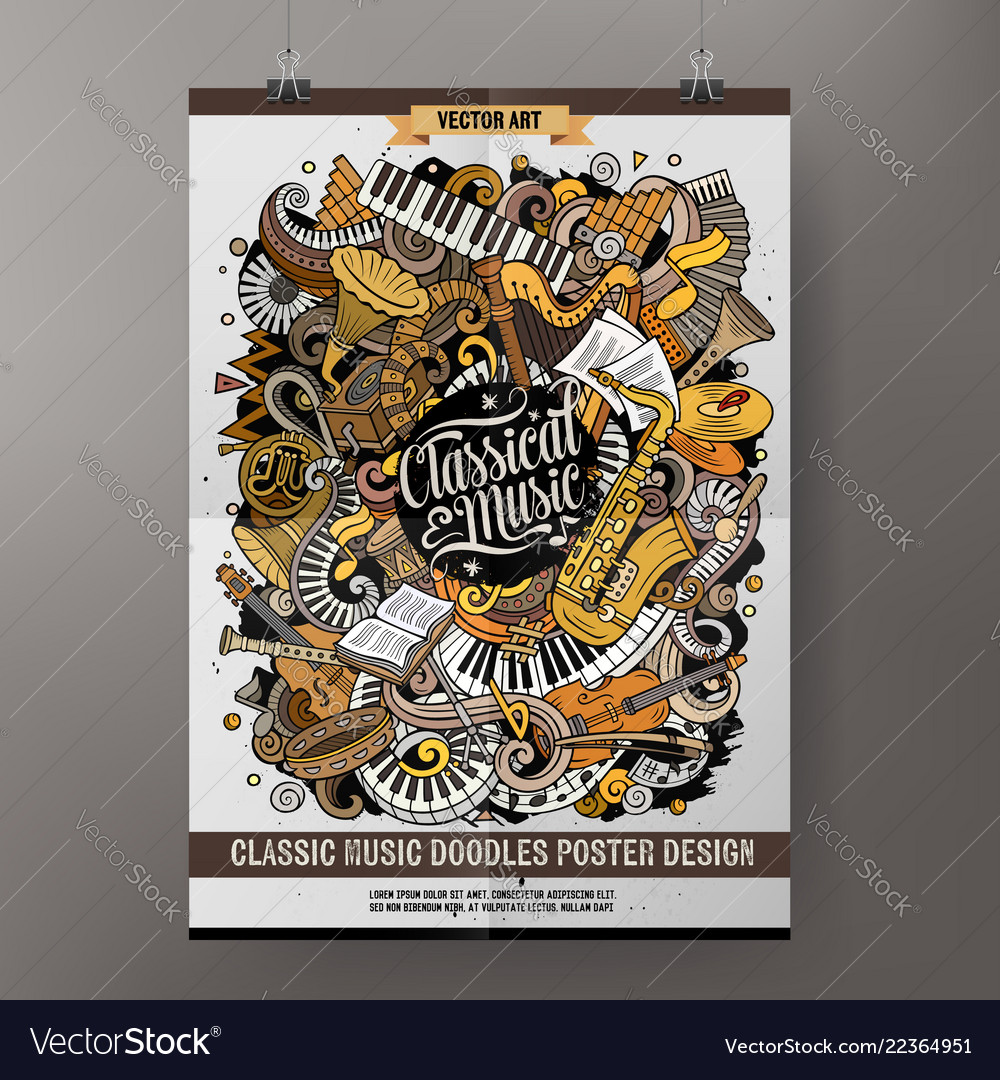Cartoon hand drawn doodles classic music poster