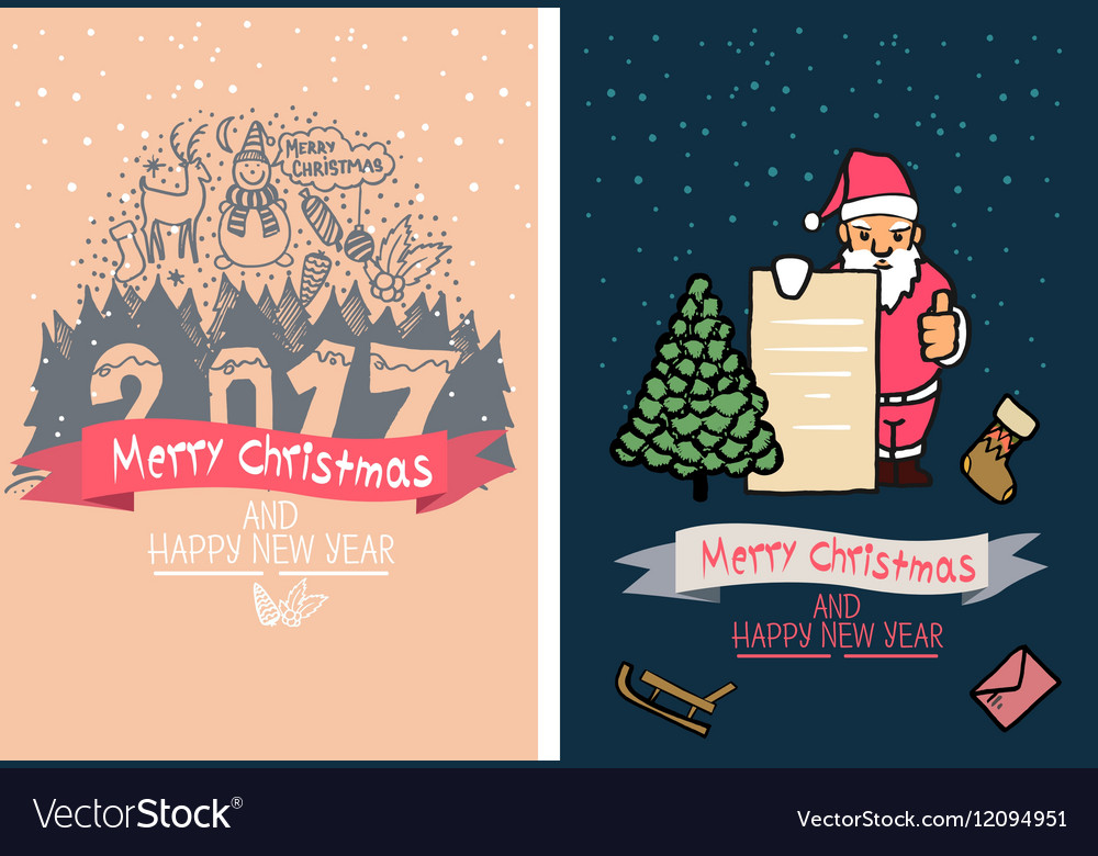 Cute Christmas card Happy New Year Family Vector Image