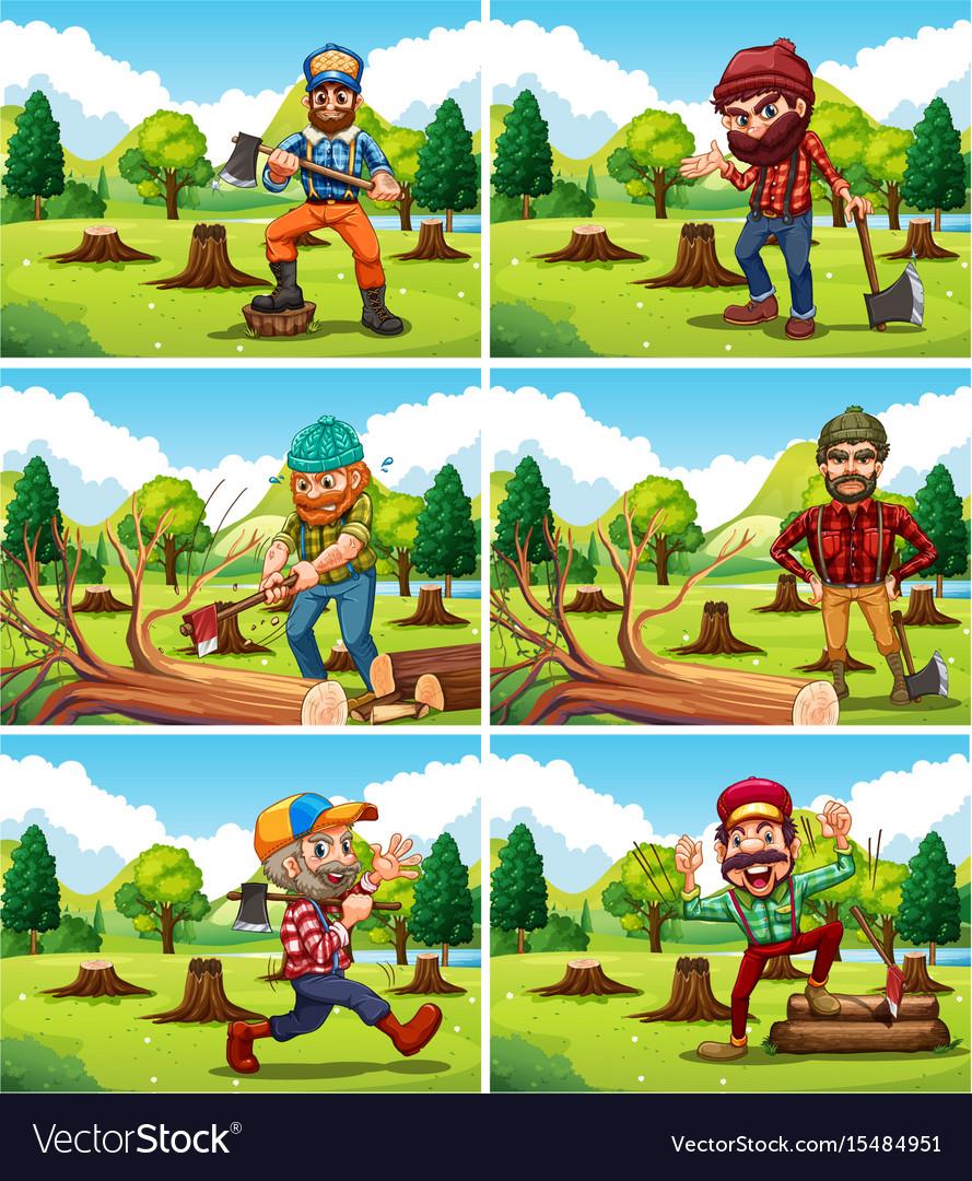 Different deforestation scene with lumberjacks