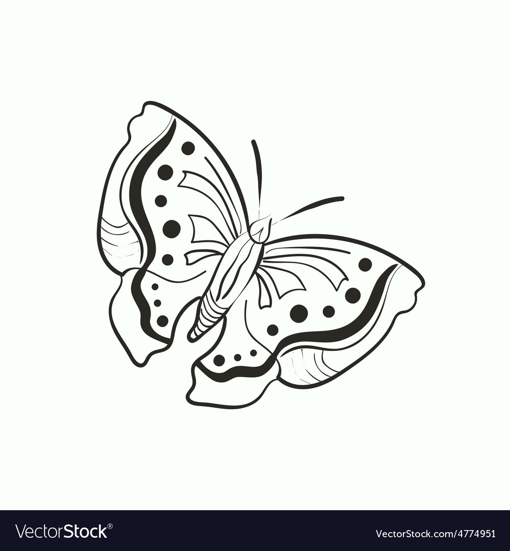 Doodle butterfly for coloring book Royalty Free Vector Image