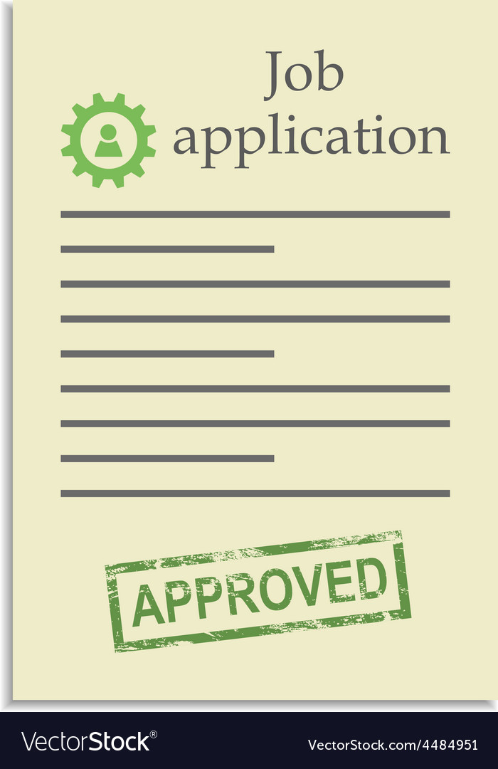 Job application with approved stamp vector image