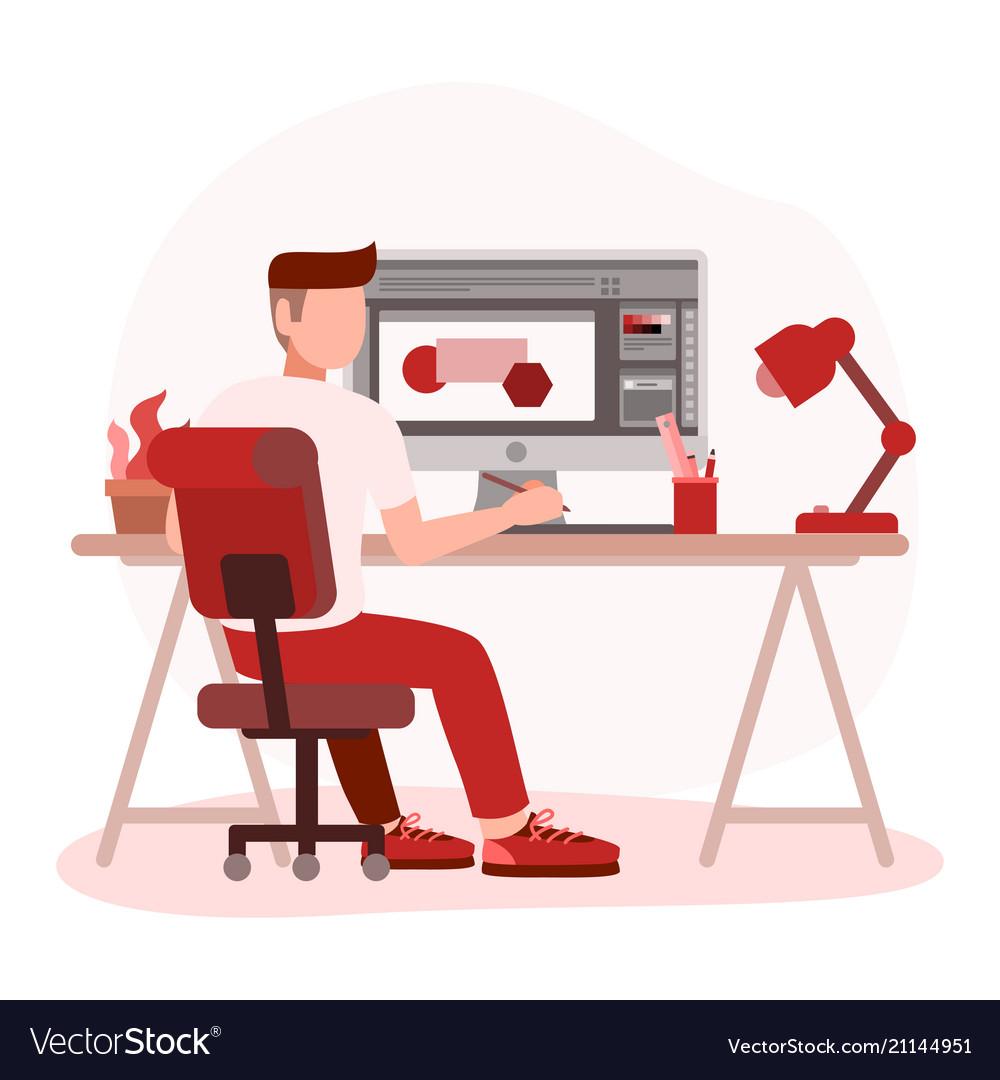 Man graphic designer working on computer