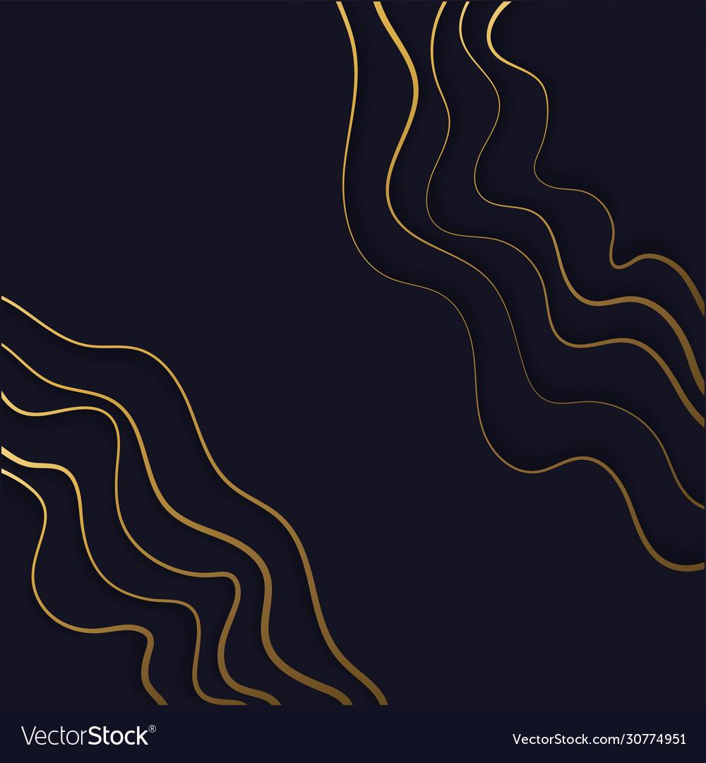 Paper cut art deco golden lines background