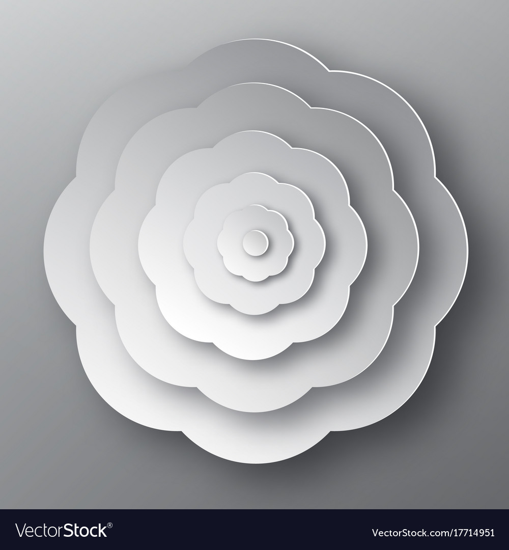 Paper cut flower grey abstract plant