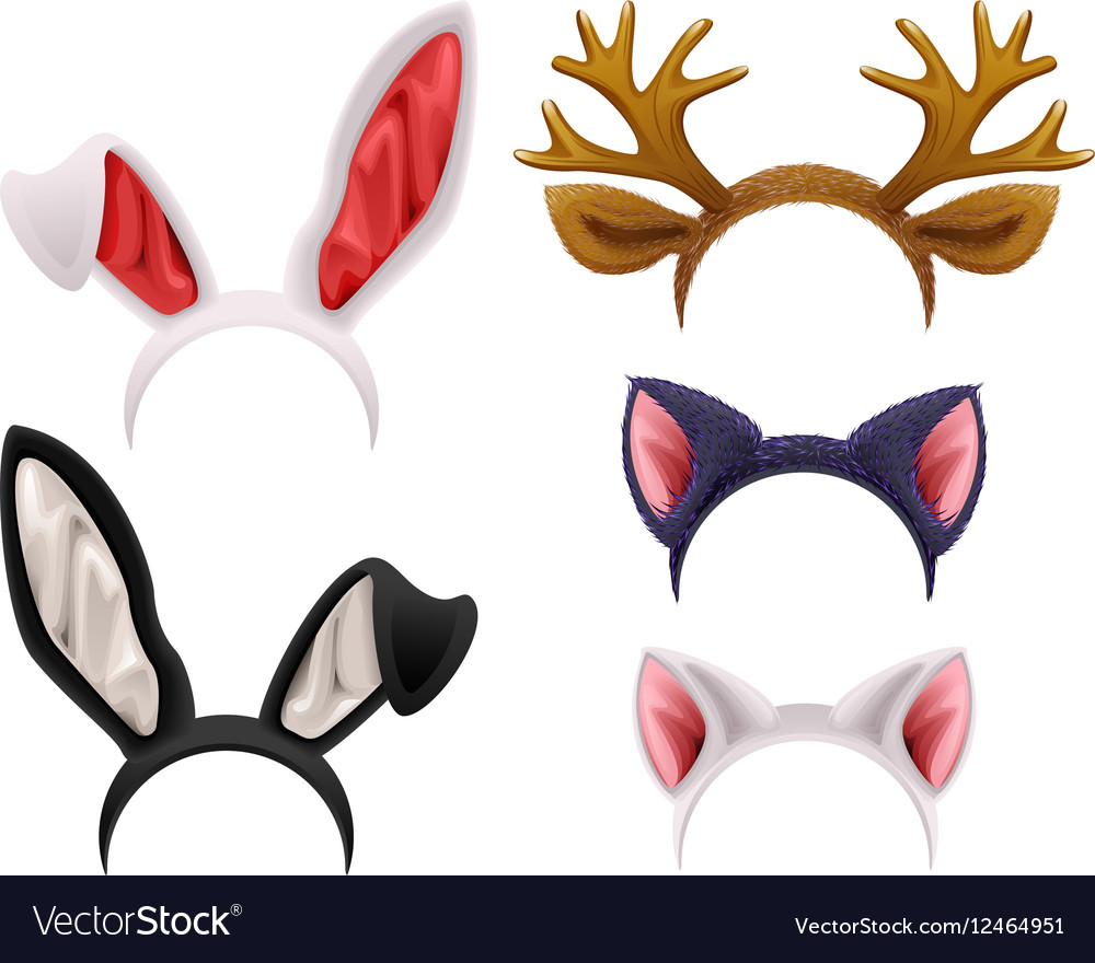 Set mask cat rabbit deer antler and ears