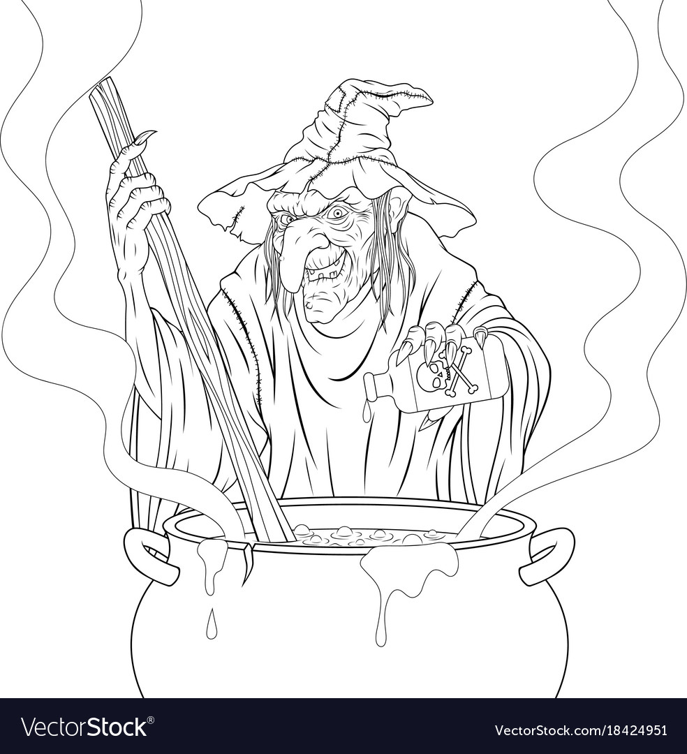 Terrible witch cooks the potion
