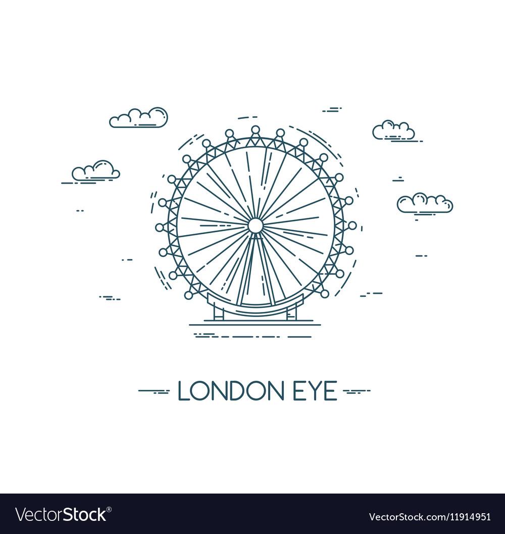 The London Eye flat line vector image